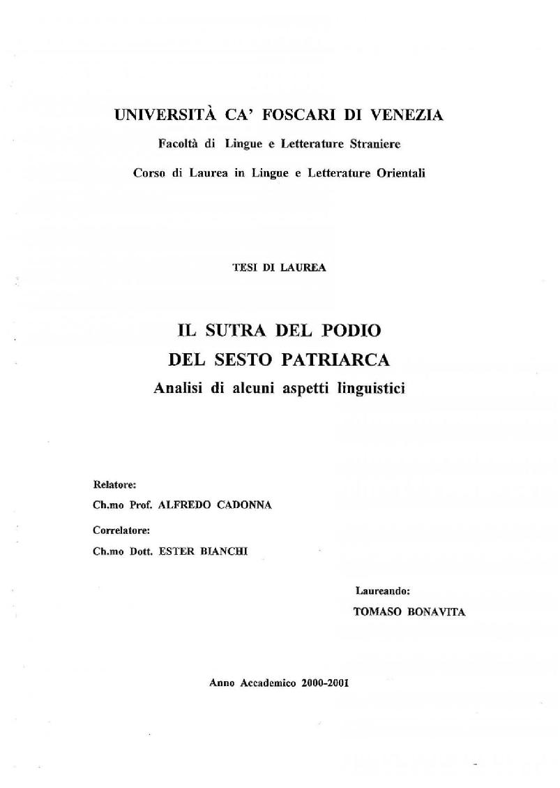 Anteprima della tesi: Il Sutra del Podio del Sesto Patriarca. Analisi di alcuni aspetti linguistici, Pagina 1