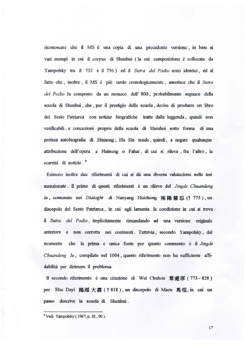 Anteprima della tesi: Il Sutra del Podio del Sesto Patriarca. Analisi di alcuni aspetti linguistici, Pagina 11