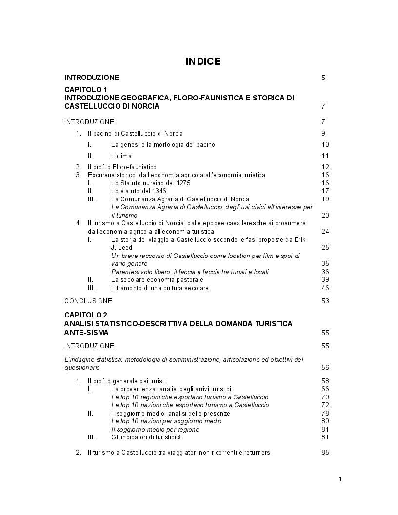 Indice della tesi: Turismo e terremoto: analisi degli impatti sismici sui flussi turistici a Castelluccio di Norcia. Proposte per la ripartenza e la riqualificazione del settore., Pagina 1