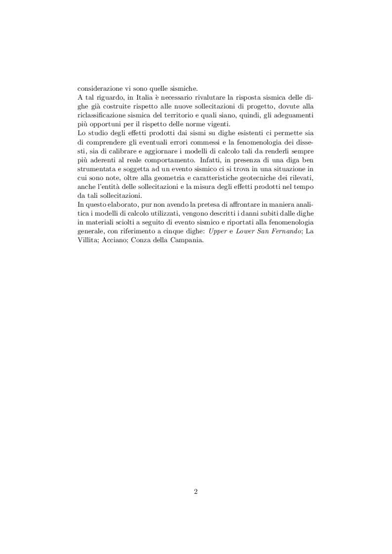 Anteprima della tesi: Comportamento delle dighe in terra soggette ad azioni sismiche, Pagina 3