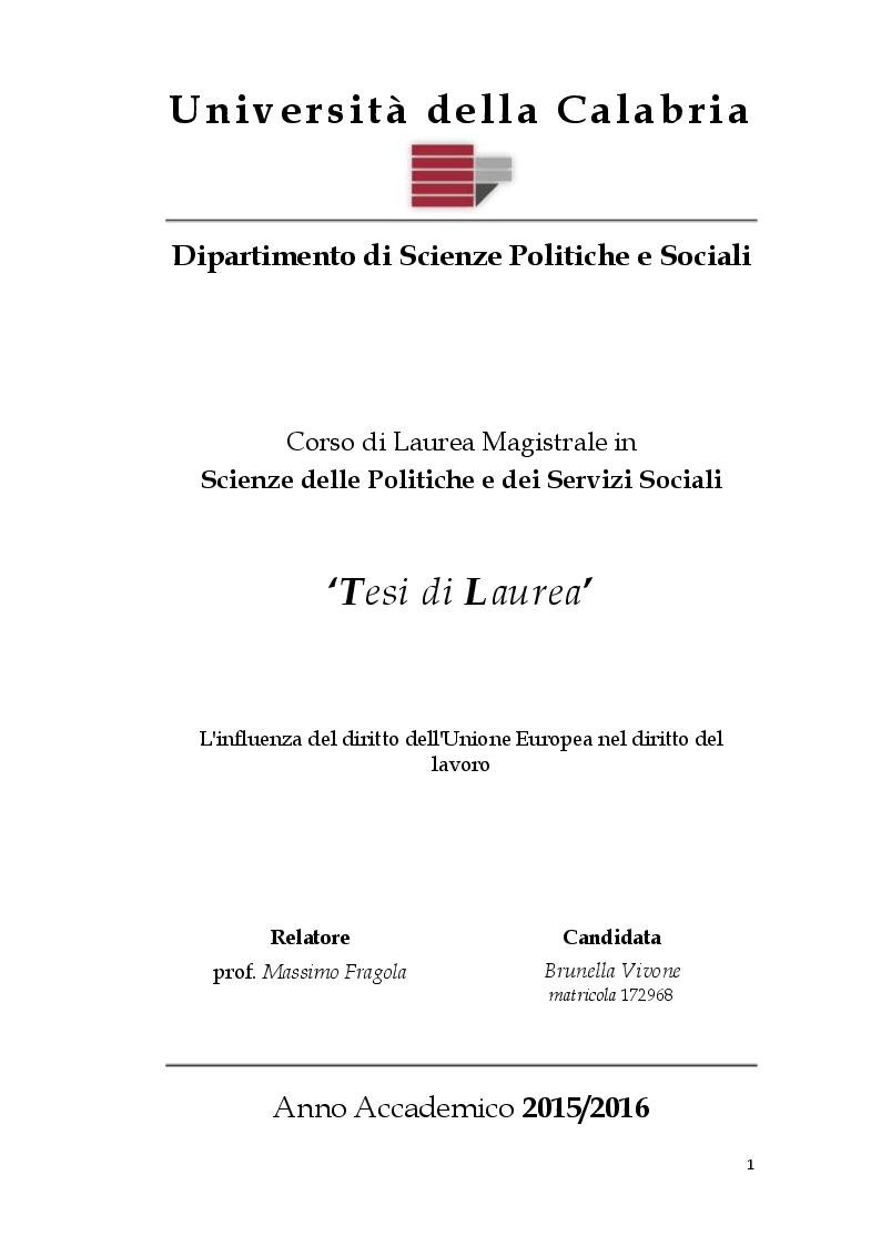 Anteprima della tesi: L'influenza del diritto dell'Unione Europea nel diritto del lavoro, Pagina 1
