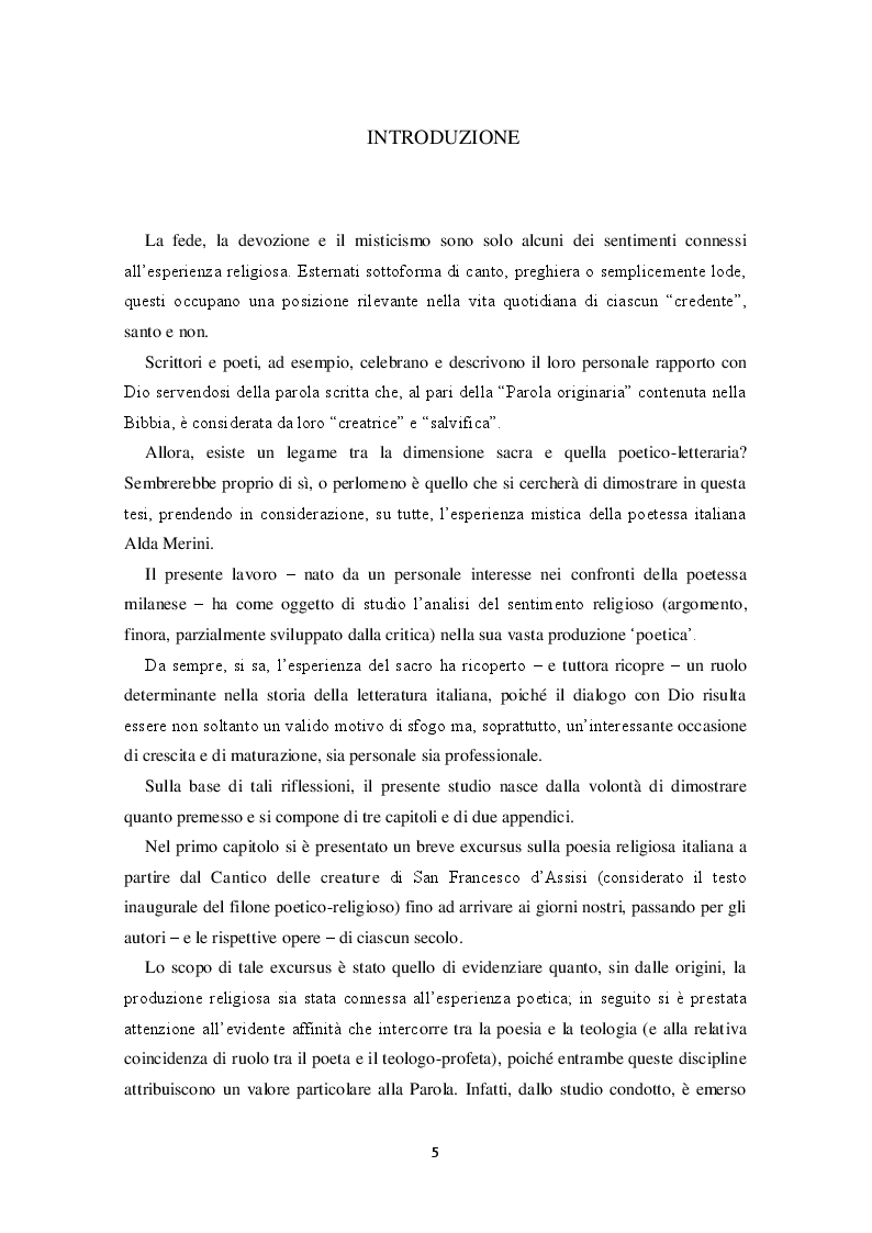 """Anteprima della tesi: """"Io trovo i miei versi intingendo il calamaio nel cielo"""": sentimento religioso e ispirazione poetica nella poesia di Alda Merini, Pagina 2"""