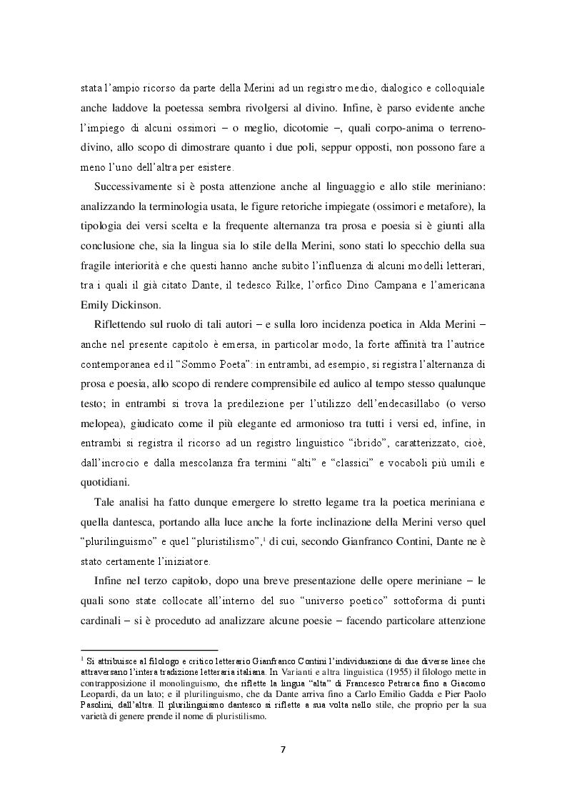"""Anteprima della tesi: """"Io trovo i miei versi intingendo il calamaio nel cielo"""": sentimento religioso e ispirazione poetica nella poesia di Alda Merini, Pagina 4"""