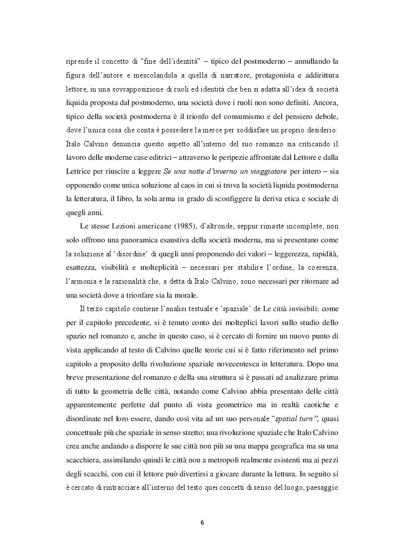Anteprima della tesi: Spatial turn e gioco combinatorio nella narrativa di Italo Calvino: da ''Se una notte d'inverno un viaggiatore'' a ''Le città invisibili'', Pagina 4