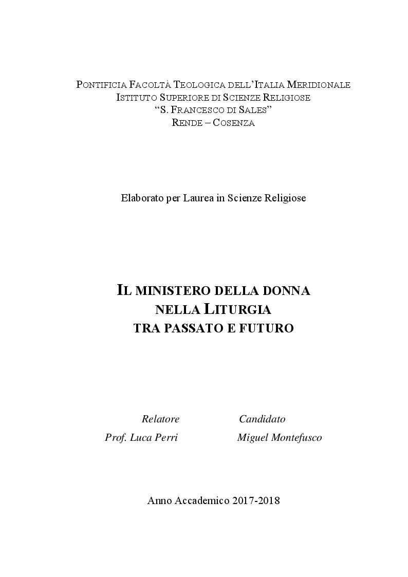 Anteprima della tesi: Il ministero della donna nella Liturgia tra passato e futuro, Pagina 1