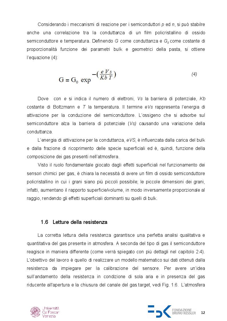Estratto dalla tesi: Caratterizzazione di sensori di gas chemoresistivi