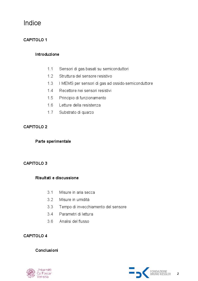 Indice della tesi: Caratterizzazione di sensori di gas chemoresistivi, Pagina 1