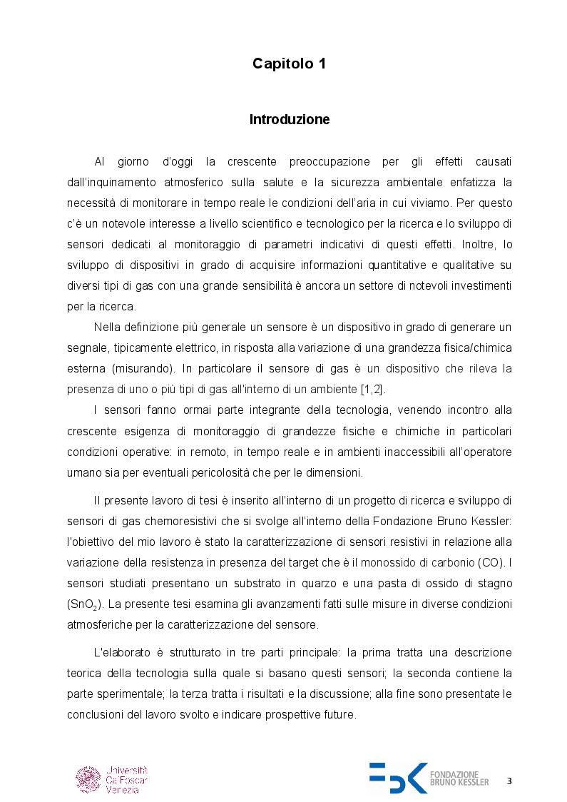 Anteprima della tesi: Caratterizzazione di sensori di gas chemoresistivi, Pagina 2
