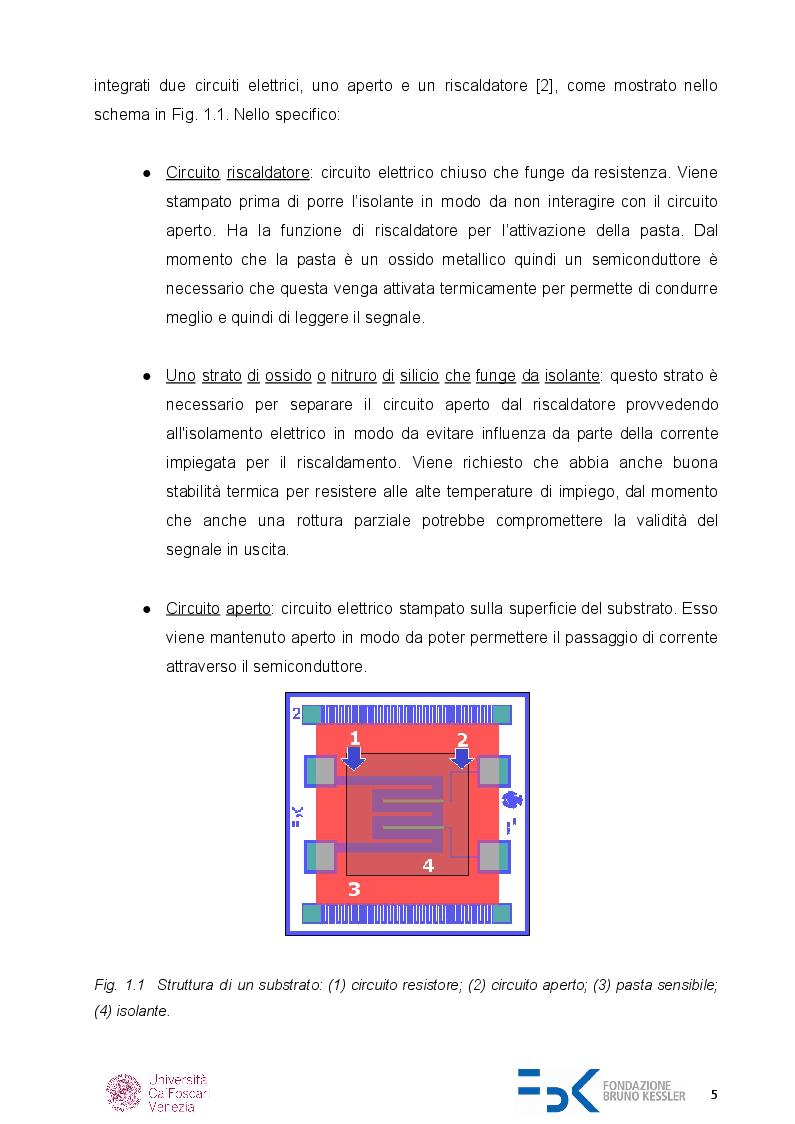 Anteprima della tesi: Caratterizzazione di sensori di gas chemoresistivi, Pagina 4