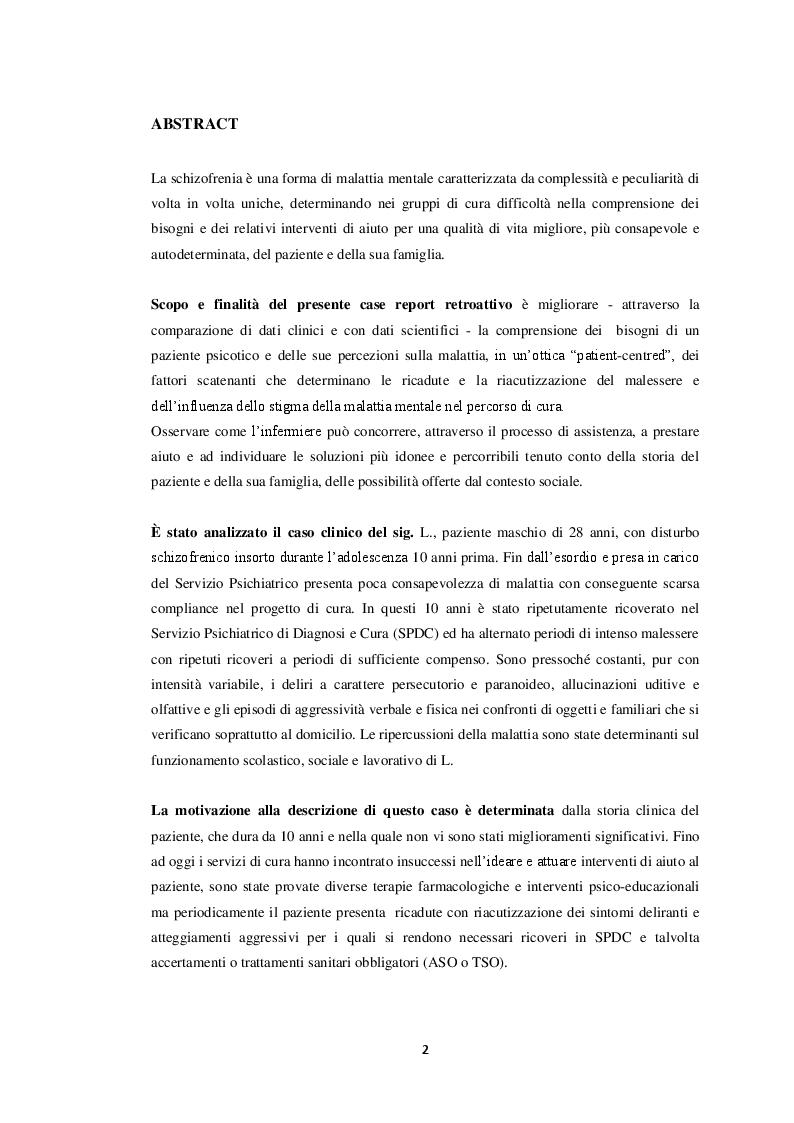 Anteprima della tesi: Il paziente schizofrenico: un caso di difficile comprensione (case report), Pagina 2