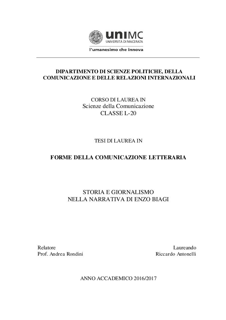 Anteprima della tesi: Storia e giornalismo nella narrativa di Enzo Biagi, Pagina 1