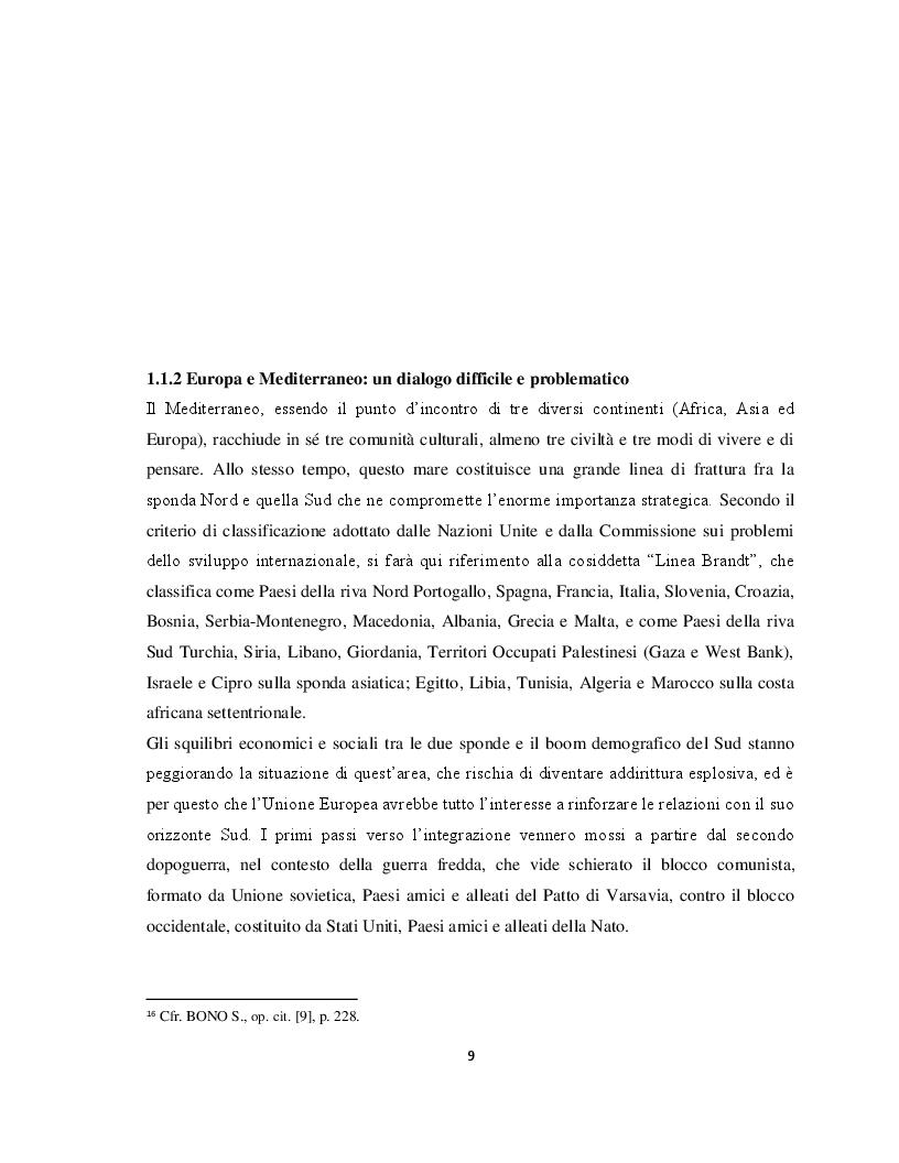 Anteprima della tesi: Il Parternariato di sicurezza nell'area euromediterranea: la questione dei migranti e del soccorso in mare, Pagina 2