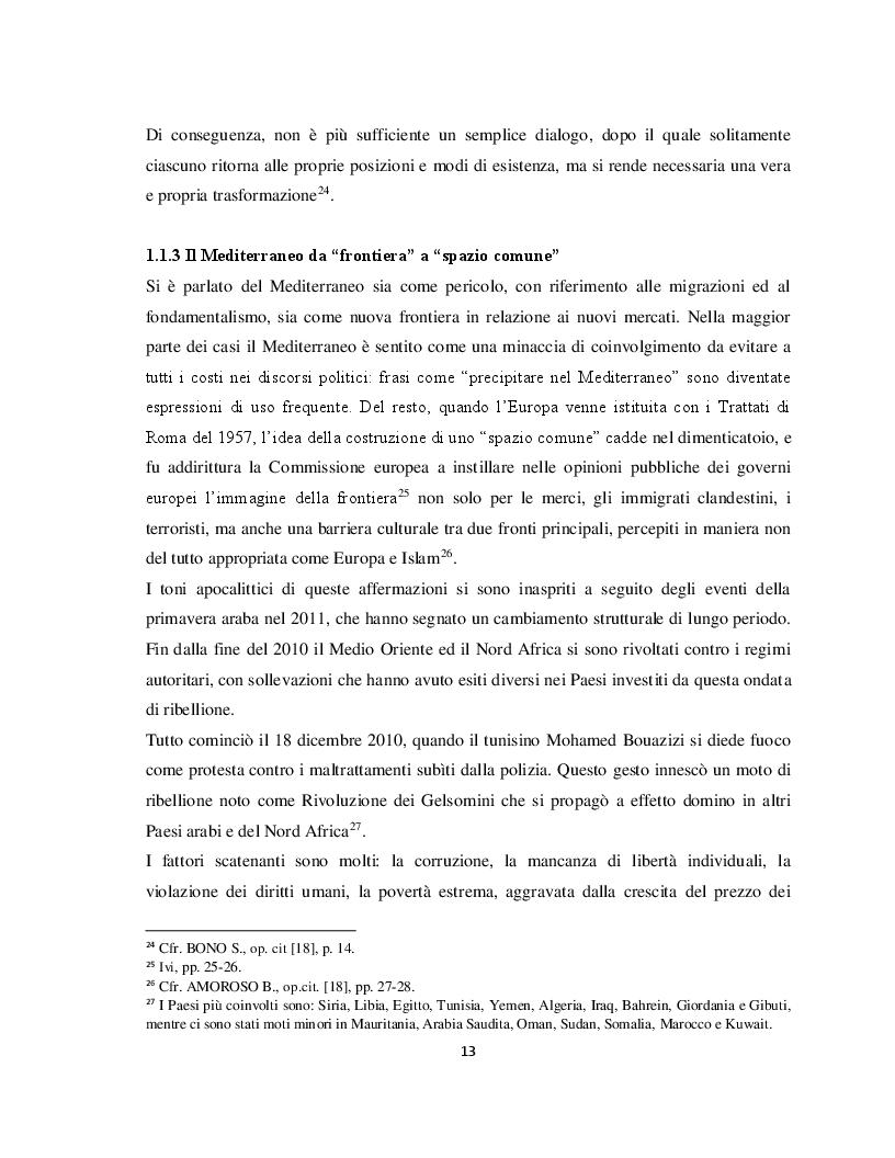 Anteprima della tesi: Il Parternariato di sicurezza nell'area euromediterranea: la questione dei migranti e del soccorso in mare, Pagina 6