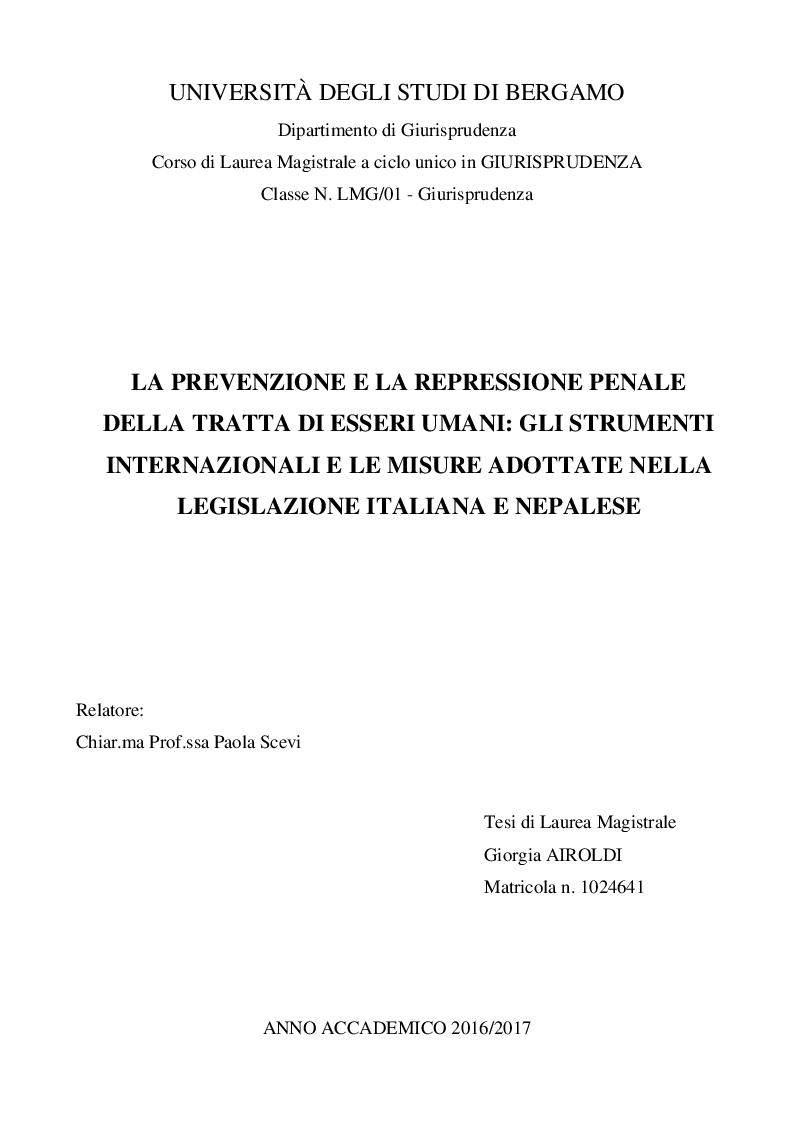 Anteprima della tesi: La prevenzione e la repressione penale della tratta di esseri umani: gli strumenti internazionali e le misure adottate nella legislazione italiana e nepalese, Pagina 1