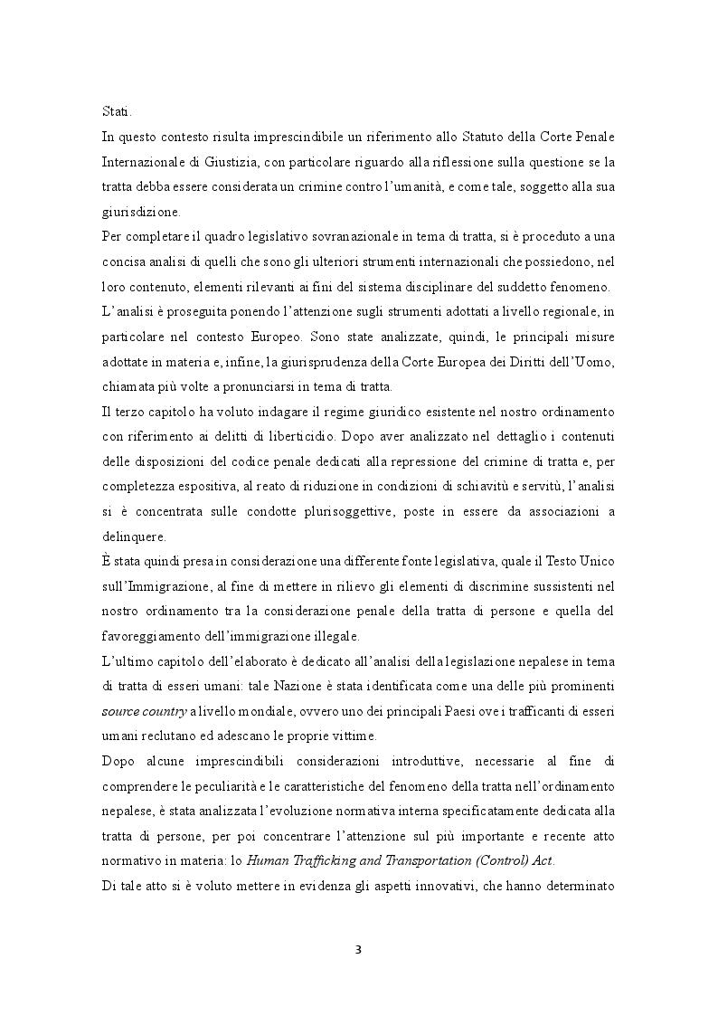 Anteprima della tesi: La prevenzione e la repressione penale della tratta di esseri umani: gli strumenti internazionali e le misure adottate nella legislazione italiana e nepalese, Pagina 4