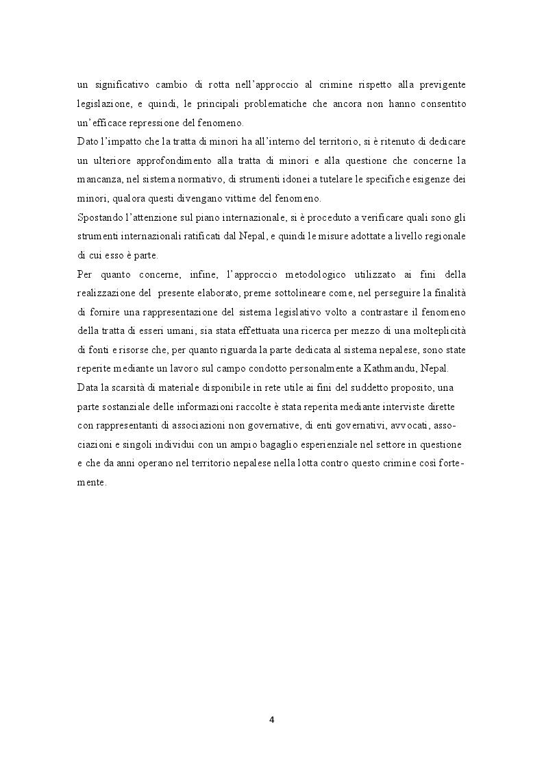 Anteprima della tesi: La prevenzione e la repressione penale della tratta di esseri umani: gli strumenti internazionali e le misure adottate nella legislazione italiana e nepalese, Pagina 5