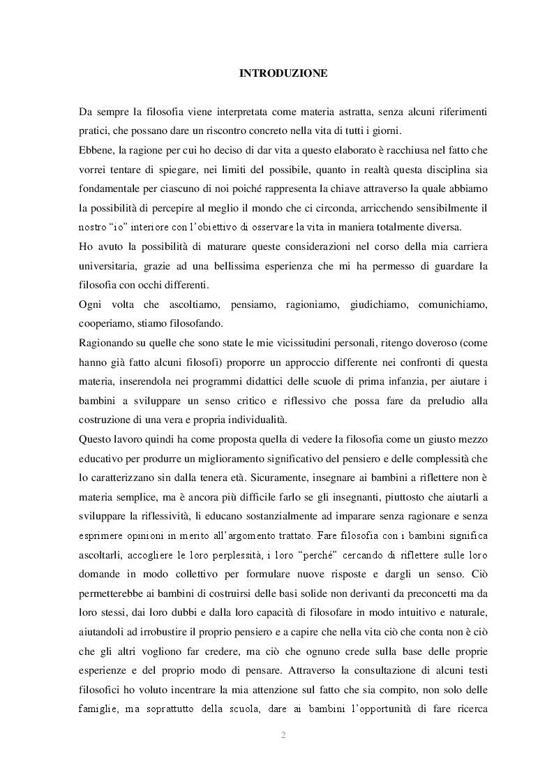 Anteprima della tesi: Lo sguardo filosofico dei bambini. Una riflessione introduttiva, Pagina 2