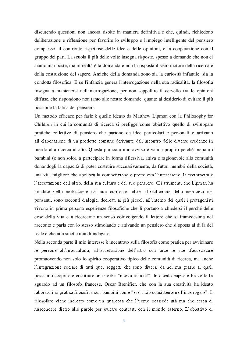 Anteprima della tesi: Lo sguardo filosofico dei bambini. Una riflessione introduttiva, Pagina 3
