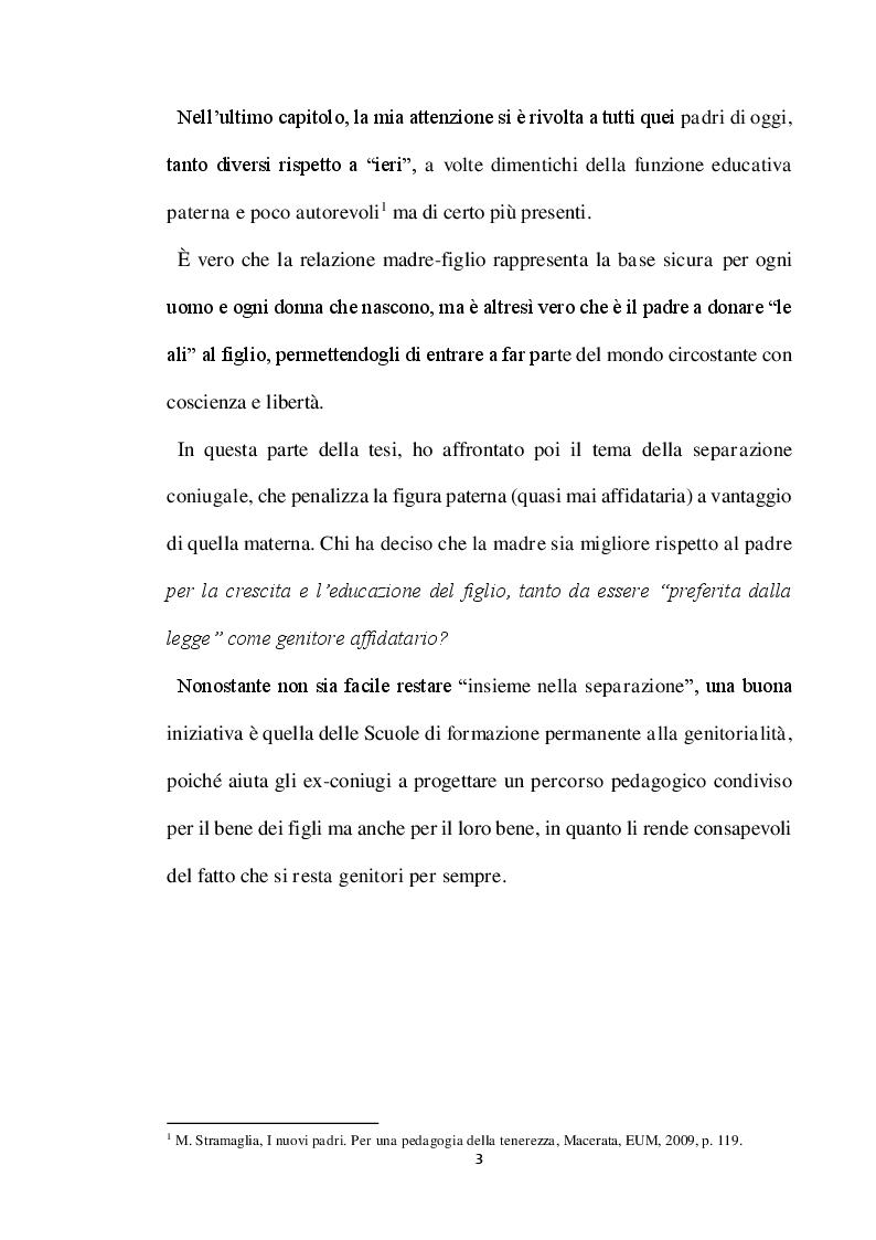 Anteprima della tesi: Genitori per sempre. Riflessioni pedagogiche sulle relazioni familiari con particolare attenzione alla funzione paterna, Pagina 4