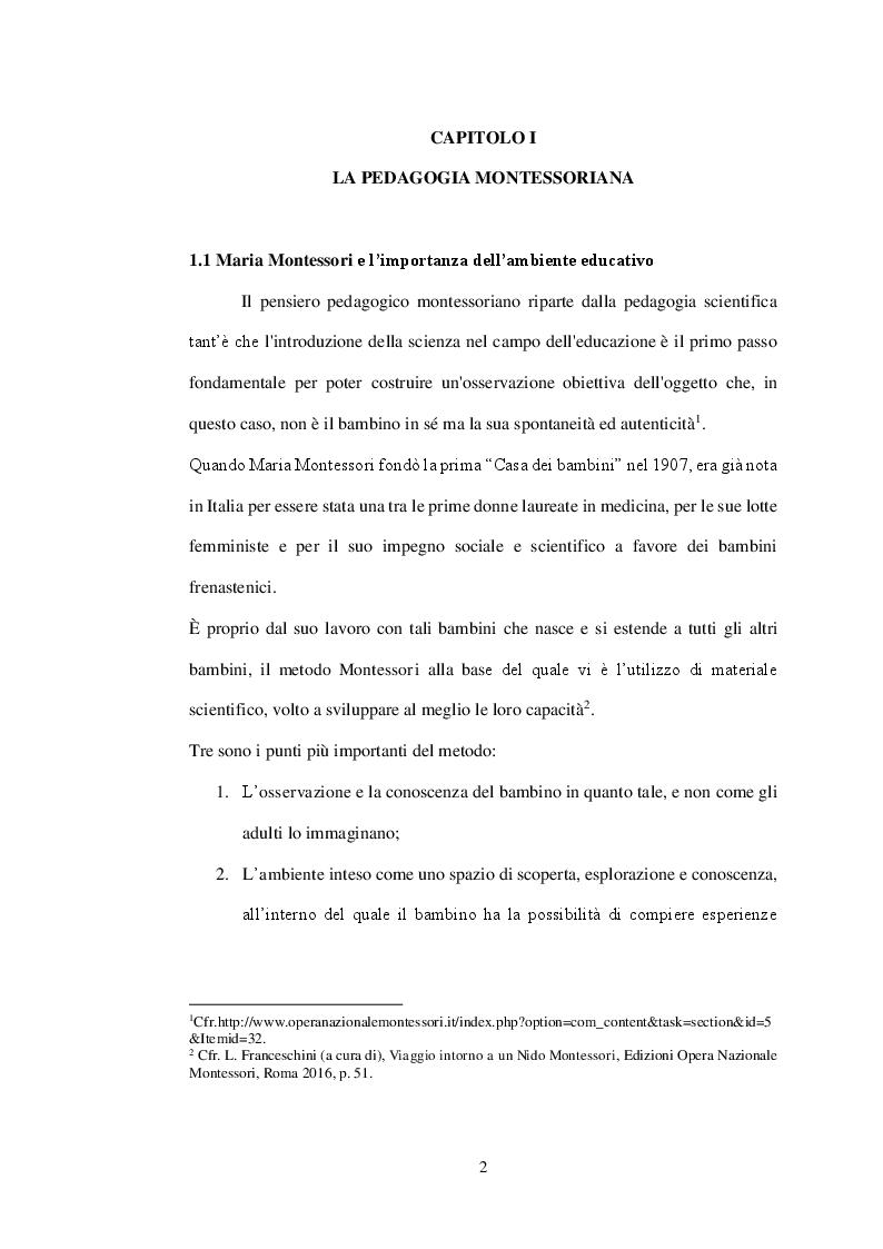 Anteprima della tesi: Il coordinatore in chiave montessoriana. Riflessioni sul metodo Montessori e sulla figura del coordinatore, Pagina 2