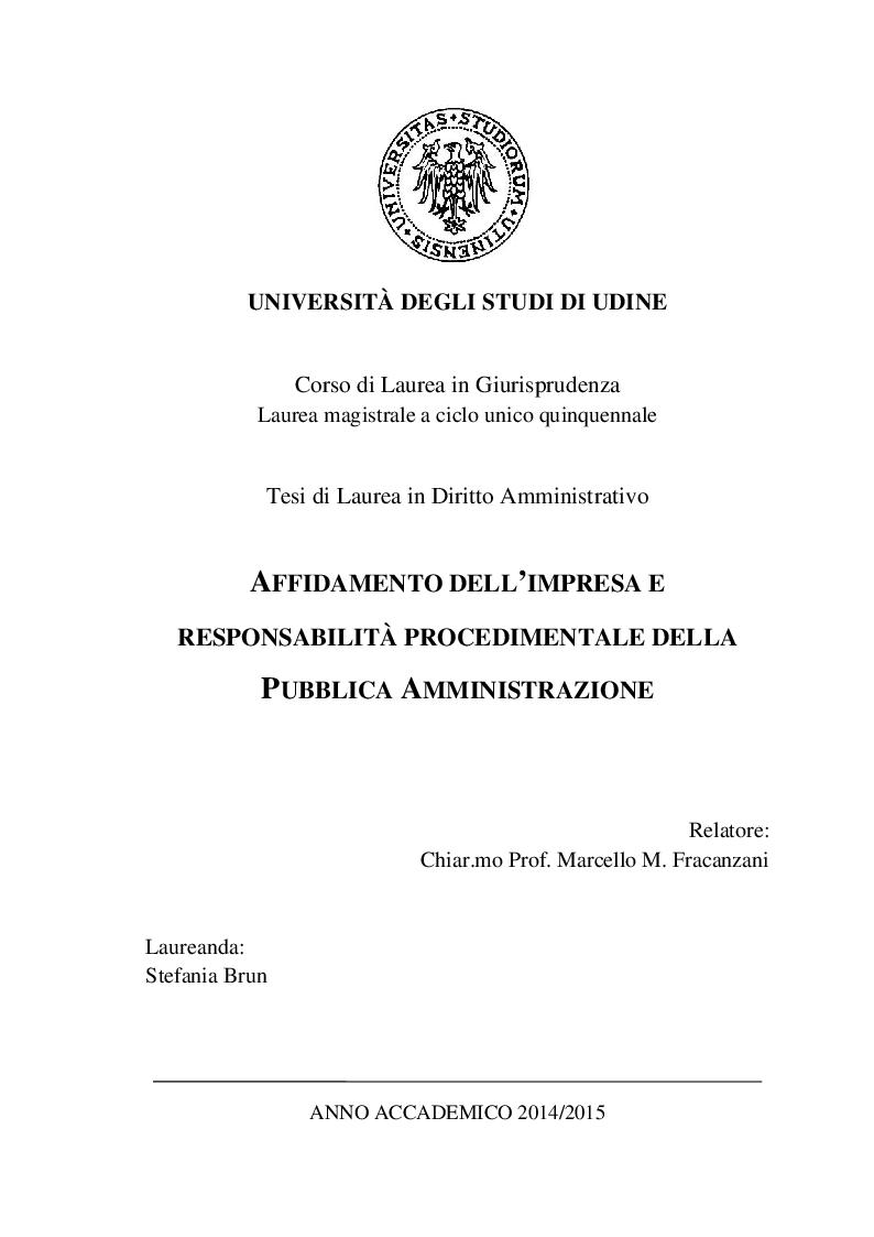 Anteprima della tesi: Affidamento dell'impresa e responsabilità procedimentale della Pubblica Amministrazione, Pagina 1