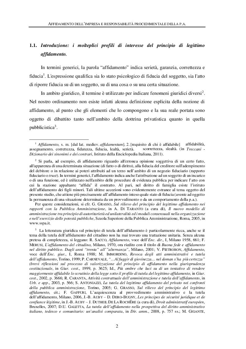 Anteprima della tesi: Affidamento dell'impresa e responsabilità procedimentale della Pubblica Amministrazione, Pagina 6