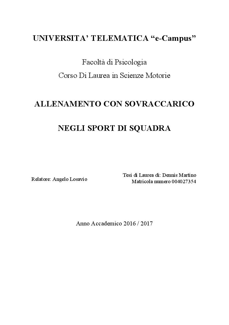 Anteprima della tesi: Allenamento con sovraccarico negli sport di squadra, Pagina 1