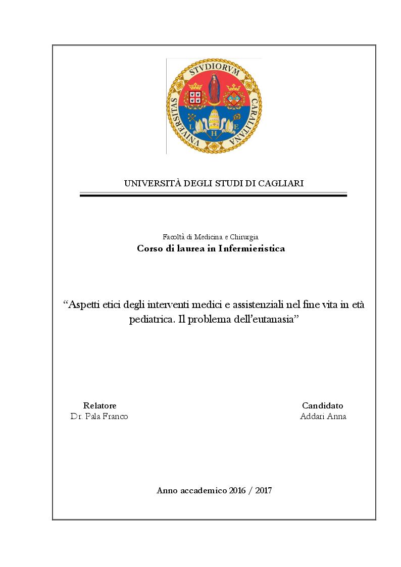 Anteprima della tesi: Aspetti etici degli interventi medici e assistenziali nel fine vita in età pediatrica. Il problema dell'eutanasia, Pagina 1
