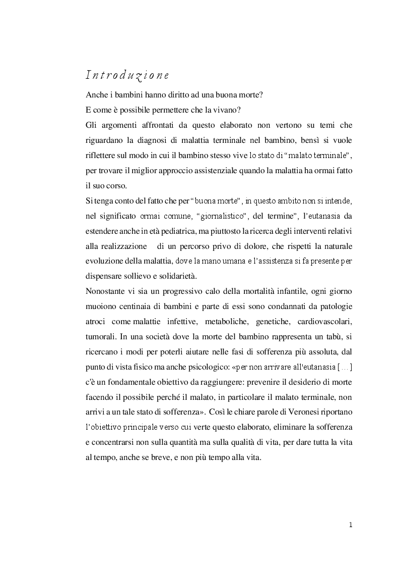 Anteprima della tesi: Aspetti etici degli interventi medici e assistenziali nel fine vita in età pediatrica. Il problema dell'eutanasia, Pagina 2