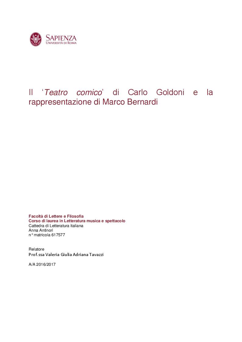 """Anteprima della tesi: Il """"Teatro comico"""" di Carlo Goldoni e la rappresentazione di Marco Bernardi, Pagina 1"""