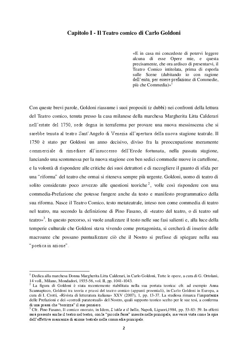 """Anteprima della tesi: Il """"Teatro comico"""" di Carlo Goldoni e la rappresentazione di Marco Bernardi, Pagina 2"""