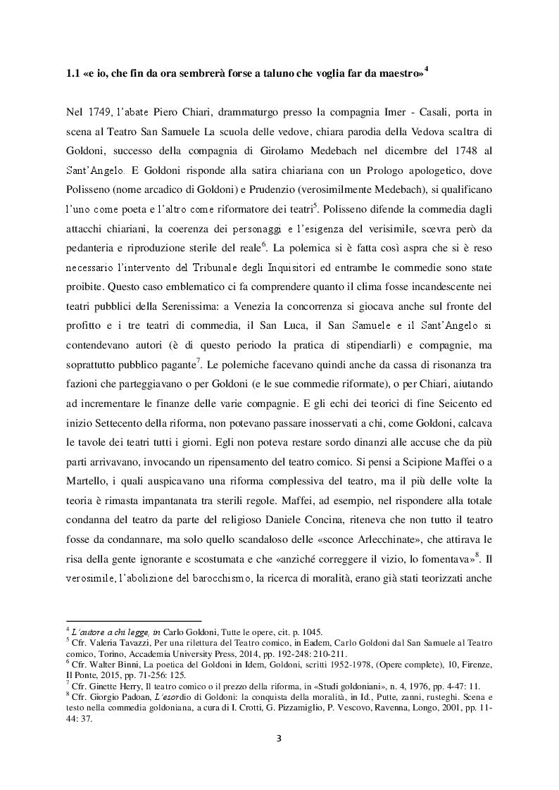 """Anteprima della tesi: Il """"Teatro comico"""" di Carlo Goldoni e la rappresentazione di Marco Bernardi, Pagina 3"""