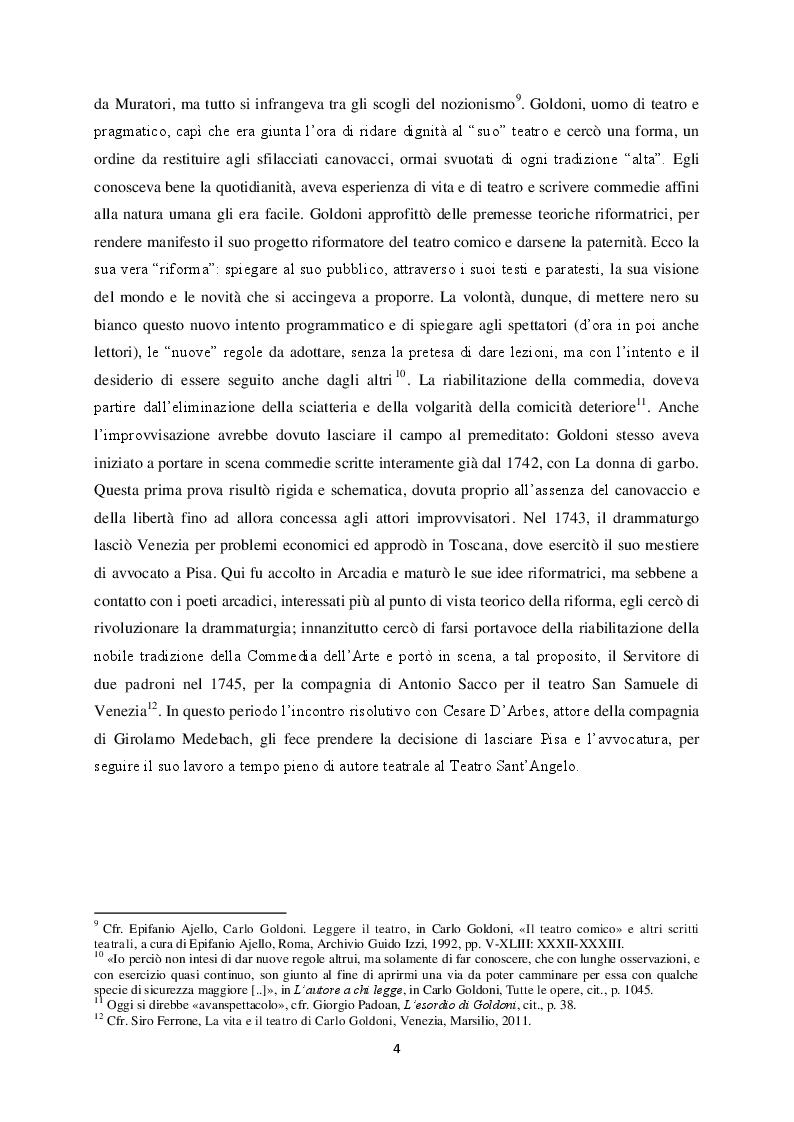"""Anteprima della tesi: Il """"Teatro comico"""" di Carlo Goldoni e la rappresentazione di Marco Bernardi, Pagina 4"""