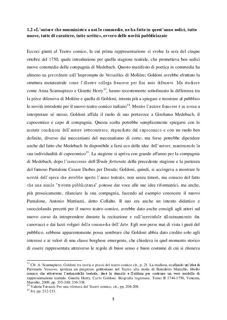 """Anteprima della tesi: Il """"Teatro comico"""" di Carlo Goldoni e la rappresentazione di Marco Bernardi, Pagina 5"""