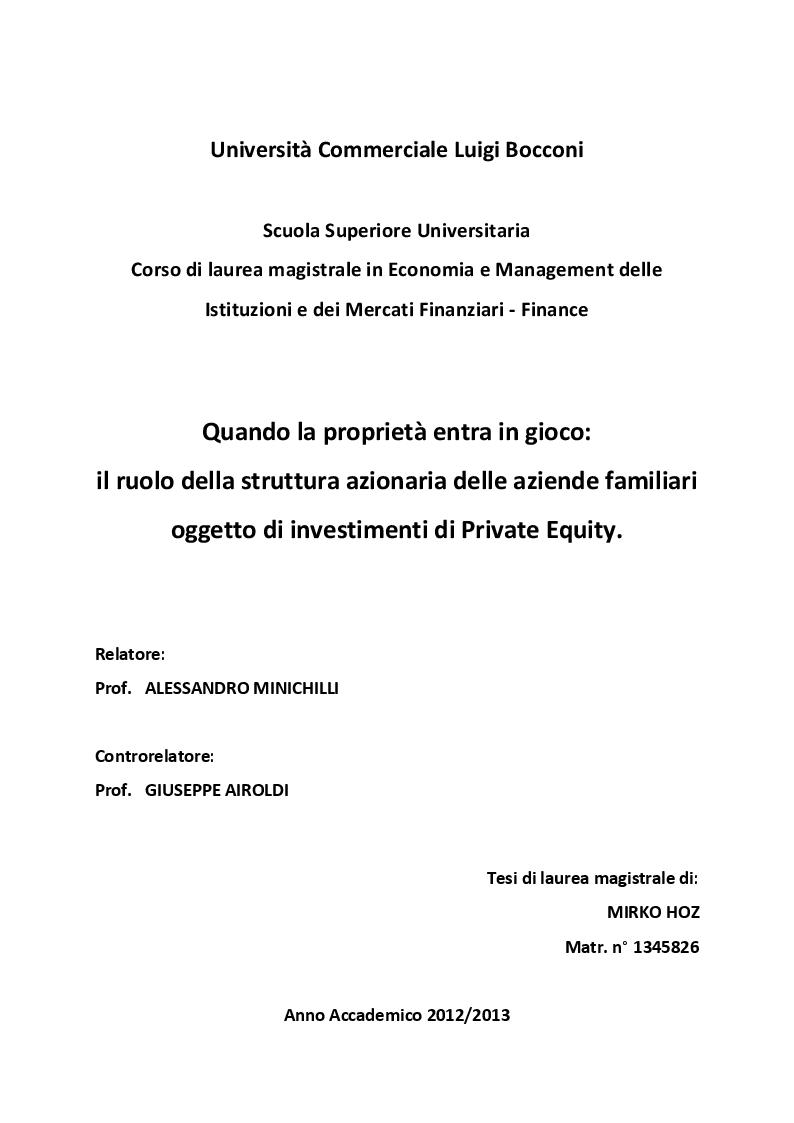 Anteprima della tesi: Quando la proprietà entra in gioco: il ruolo della struttura azionaria delle aziende familiari oggetto di investimenti di Private Equity, Pagina 1