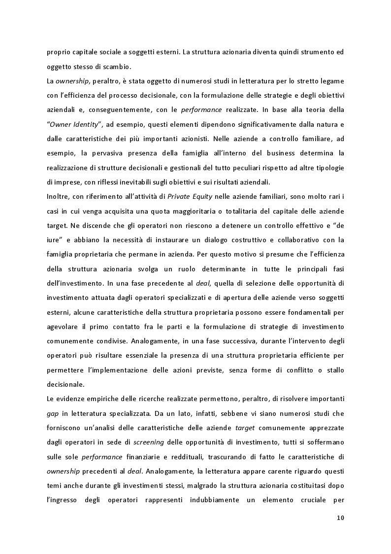 Anteprima della tesi: Quando la proprietà entra in gioco: il ruolo della struttura azionaria delle aziende familiari oggetto di investimenti di Private Equity, Pagina 4