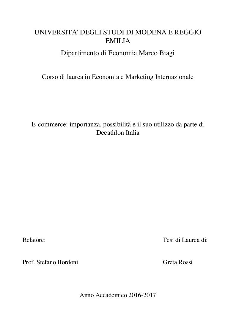 Anteprima della tesi: E-commerce: importanza, possibilità e il suo utilizzo da parte di Decathlon Italia, Pagina 1