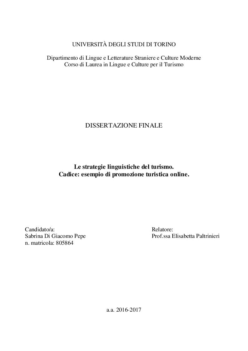 Anteprima della tesi: Le strategie linguistiche del turismo. Cadice: esempio di promozione turistica online. , Pagina 1