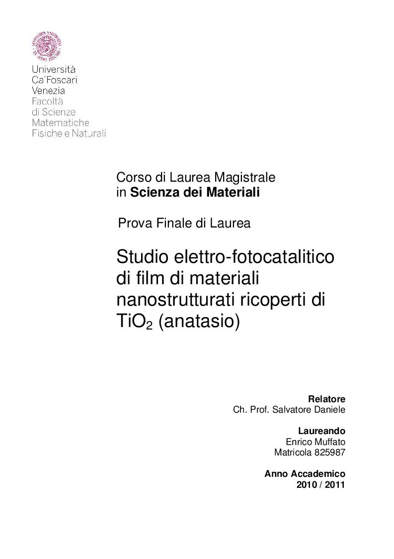 Anteprima della tesi: Studio elettro-fotocatalitico di film di materiali nanostrutturati ricoperti di TiO2 (anatasio), Pagina 1