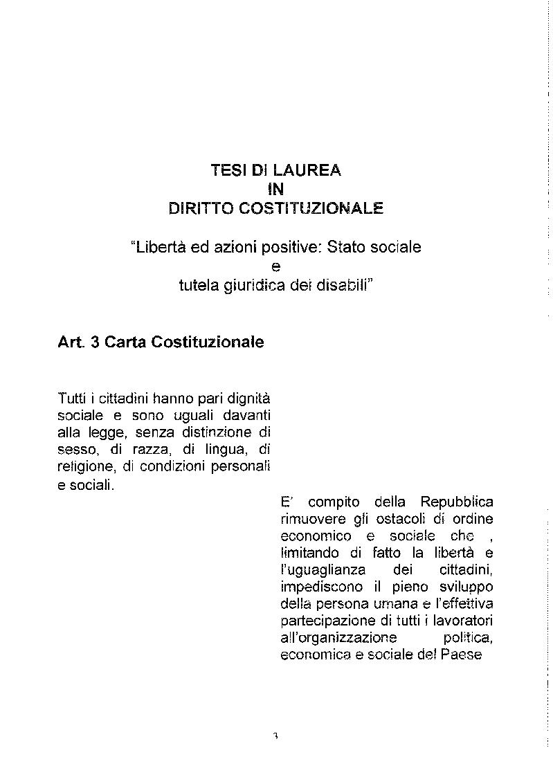 Anteprima della tesi: Libertà ed Azioni positive: Stato sociale e tutela giuridica delle disabilità, Pagina 2