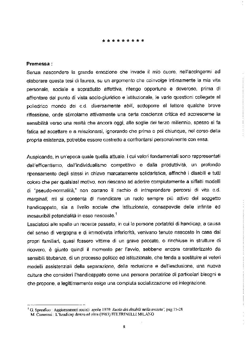 Anteprima della tesi: Libertà ed Azioni positive: Stato sociale e tutela giuridica delle disabilità, Pagina 3
