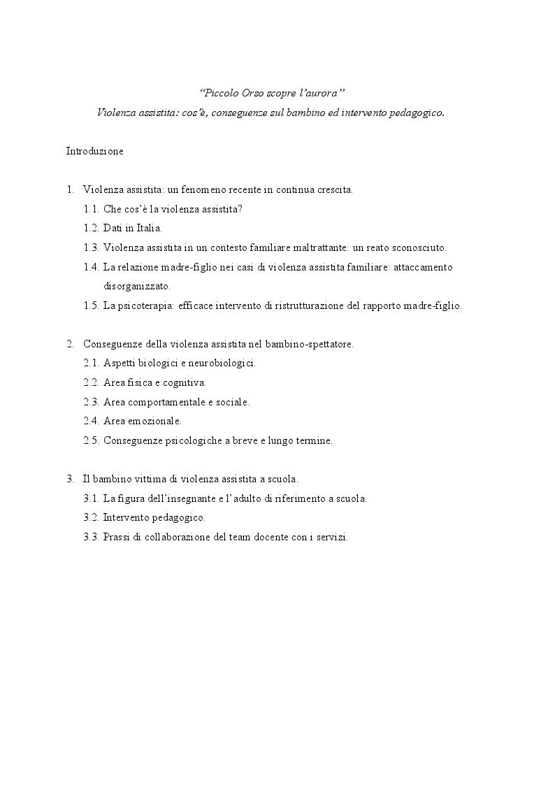 Indice della tesi: ''Piccolo Orso scopre l'aurora'' Violenza assistita: cos'è, conseguenze sul bambino e intervento pedagogico., Pagina 1