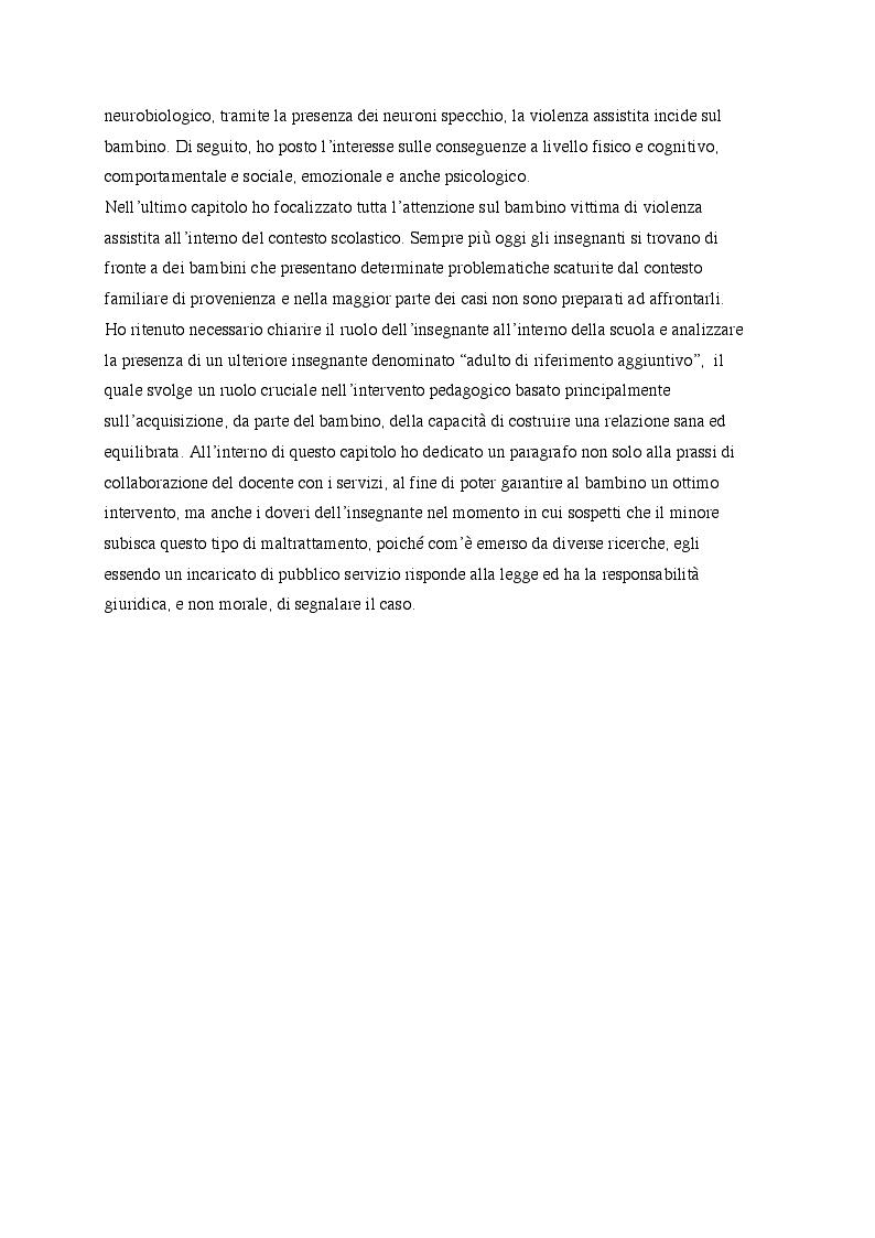 Anteprima della tesi: ''Piccolo Orso scopre l'aurora'' Violenza assistita: cos'è, conseguenze sul bambino e intervento pedagogico., Pagina 3