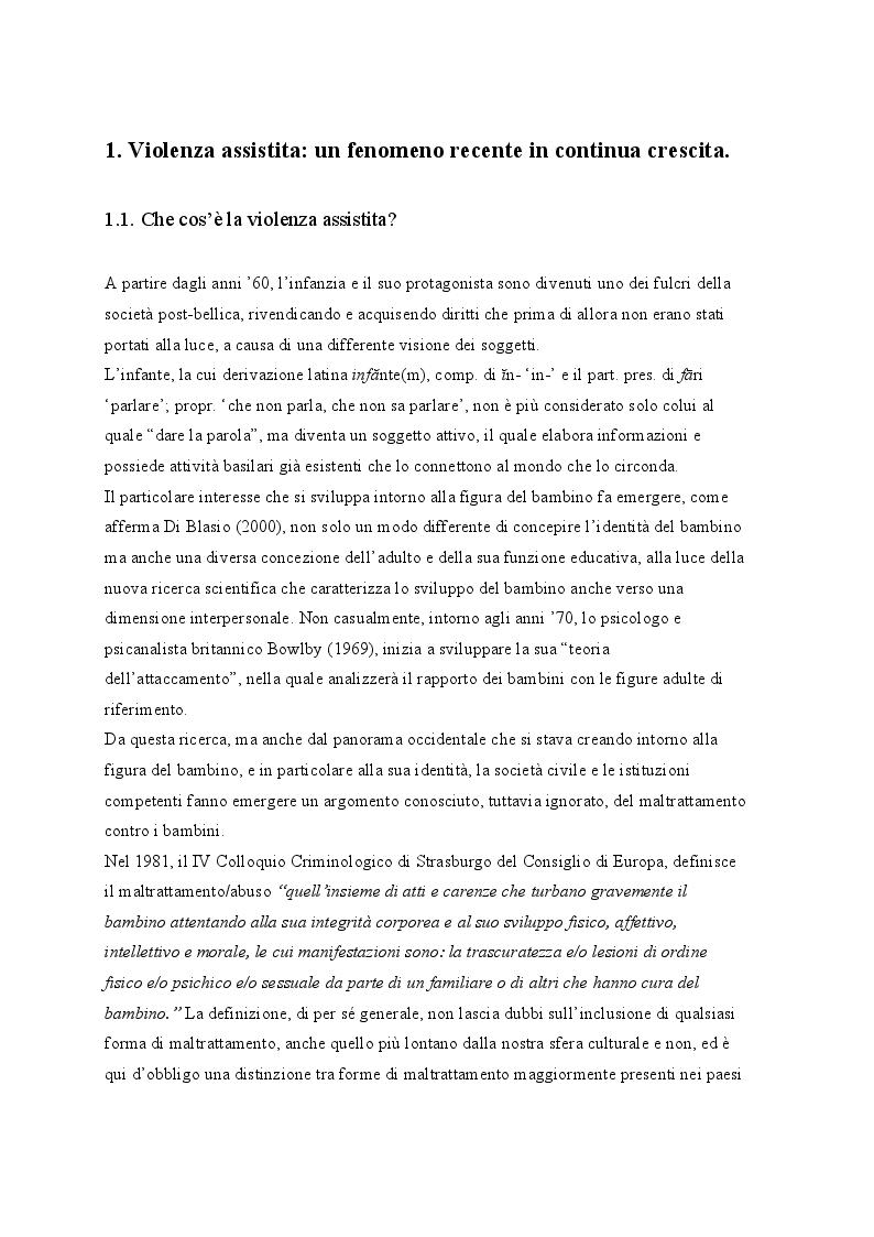 Anteprima della tesi: ''Piccolo Orso scopre l'aurora'' Violenza assistita: cos'è, conseguenze sul bambino e intervento pedagogico., Pagina 4