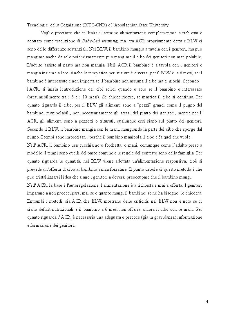 Anteprima della tesi: Alimentazione complementare a richiesta in bambini di 6-12 mesi: un'indagine on line, Pagina 4