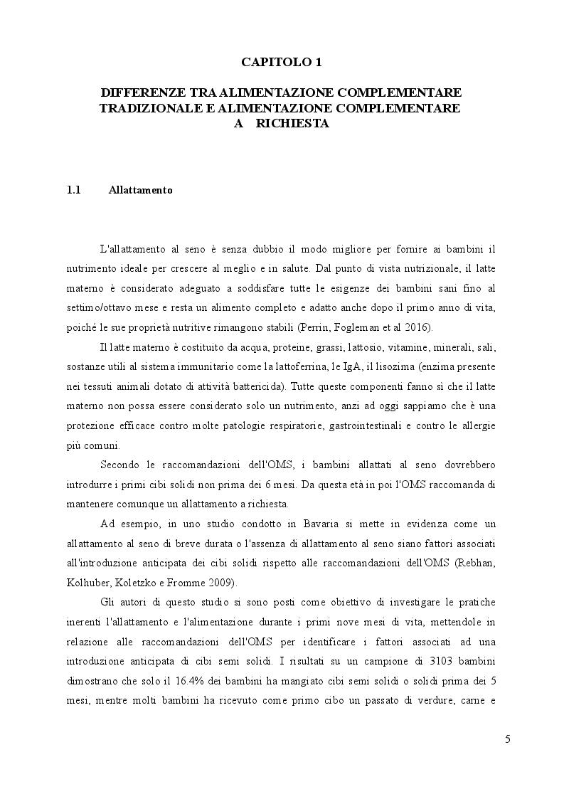 Anteprima della tesi: Alimentazione complementare a richiesta in bambini di 6-12 mesi: un'indagine on line, Pagina 5