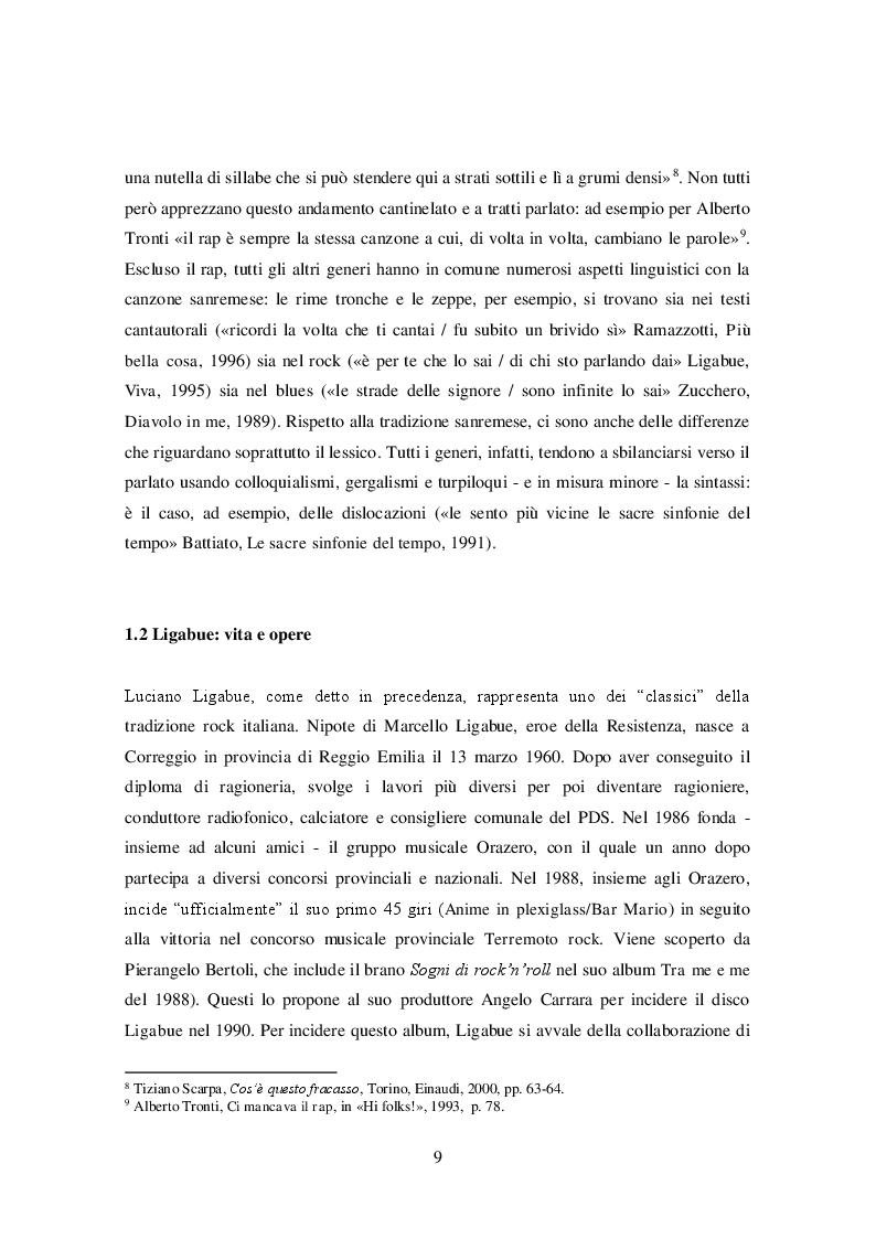 Anteprima della tesi: La lingua delle canzoni di Ligabue, Pagina 5