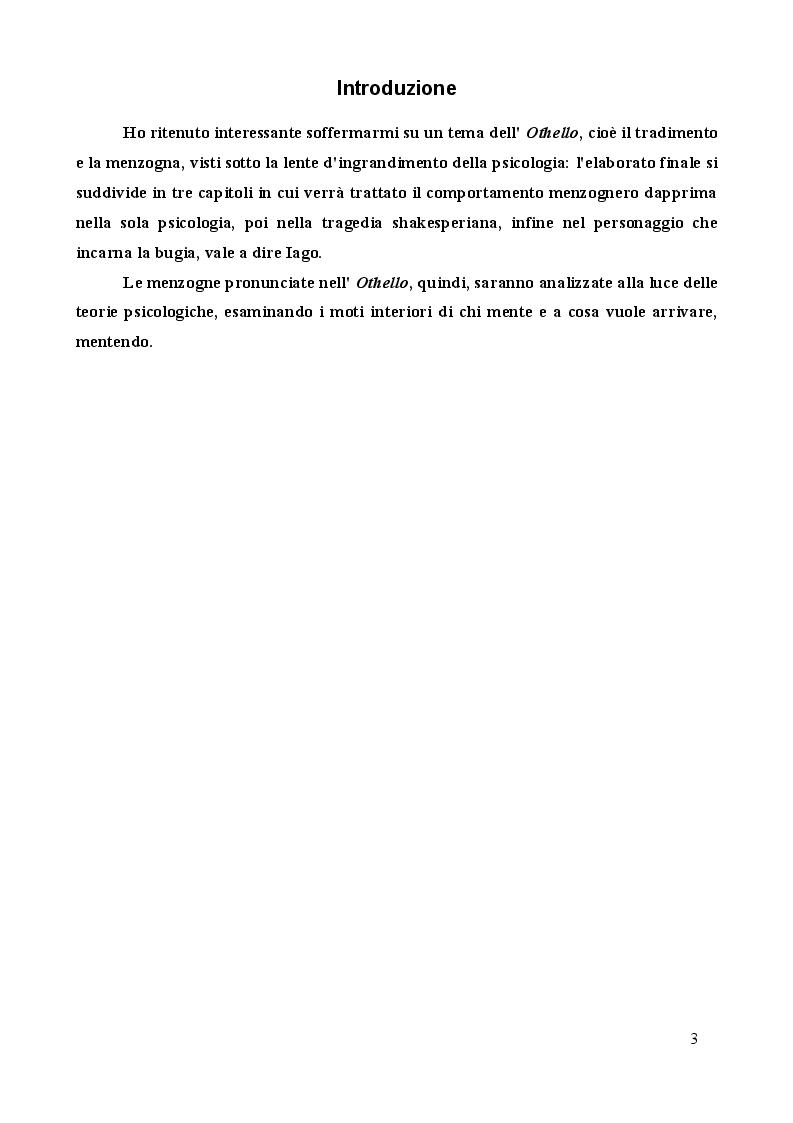 """Anteprima della tesi: Tradimento e Menzogna in """"Othello"""", Pagina 2"""
