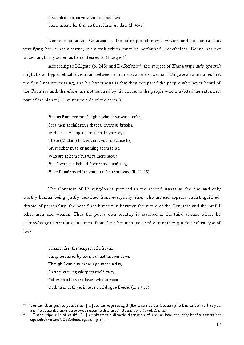Estratto dalla tesi: John Donne's Verse Epistles