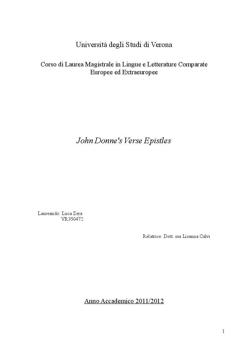 Anteprima della tesi: John Donne's Verse Epistles, Pagina 1